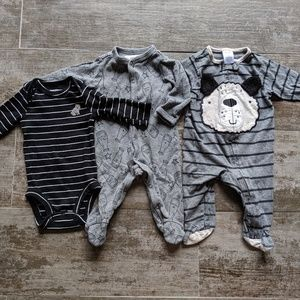 0-3/3 Months Footies and Onesie Set of 3